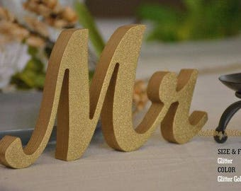 """Mr & Mrs - 5"""" Gold with Gold glitter dust"""
