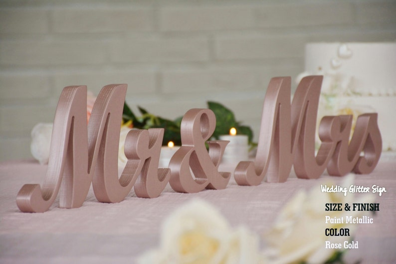 Mr Mrs Rose Gold Rose Gold Wedding Decorations Rose Gold Etsy