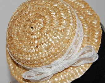 Mini canotier for girls, Straw hat boater for girls, straw mini boater hat