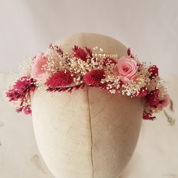 Diadema De Flores Secas Con Rosas Preservadas Tocados De Etsy