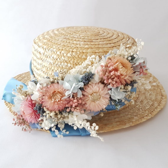 Boater hat with flowers Straw hat for girls  5655694f822