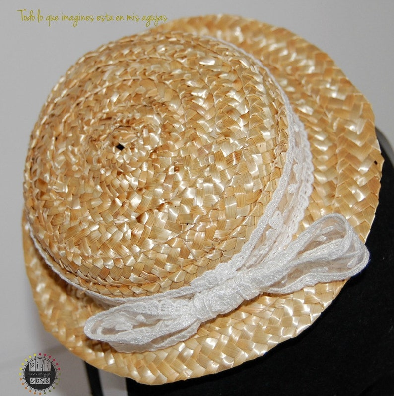 Mini canotier for girls Straw hat boater for girls straw image 0