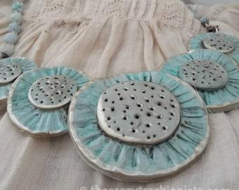 Blue Flowers Clay Bib Necklace