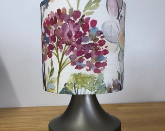Drum lampshade, Lamp Shade, Ceiling, Made to Order, 15cm, 20cm, 30cm, 40 cm, Fabric, Voyage, Hedgerow Cream, Floral, Flowers, Linen