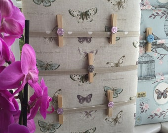 Fabric Notice Board, Pegs, made to order in many fabric choices, Organiser, Memo, Padded, 30x40cms, 40x50cms, 50x60cms