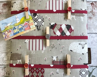 Fabric Notice Board, Pegs, made to order in many fabric choices, Organiser, Memo, Padded, Sheep, Lilac, Blue, Red