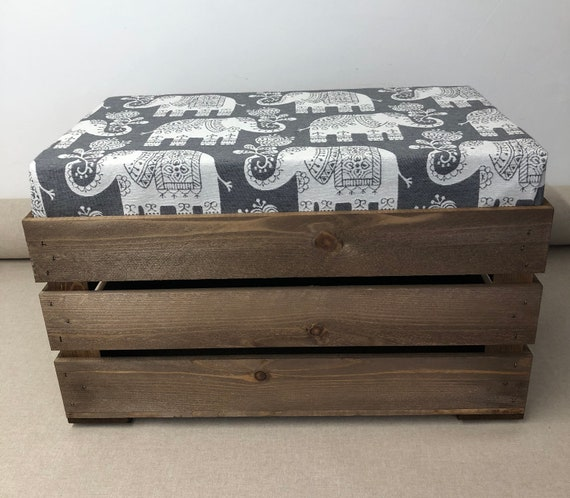 Awe Inspiring Apple Crate Seat Wooden Footstool Childs Stool Toy Storage Elephant Fabric Grey Green Beige Spiritservingveterans Wood Chair Design Ideas Spiritservingveteransorg