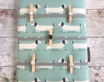Fabric Notice Board, Pegs, made to order in many fabric choices, Organiser, Memo, Padded, Dash, Hounds, Dogs, Dachshund, Blue