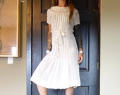 XS 1930s midi dress ivory silky silk rayon white high neck short sleeve extra small XXS 0 1 2 3 4 30 32 34 00 30s antique old worn frock