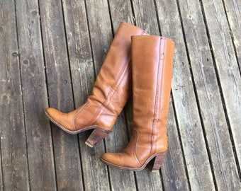 9283fb06d8 6-6.5 Frye 1970s riding boots 6 6.5 6 1 2 35 36 37 made in USA America  vintage Frye boots western high heel tall knee high 6.5 6 1 2 6 point