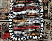 Antique India tribal embroidery old worn patina mashru masru cloth geometric Banjara cowrie shells ceremonial textile art ethnic Indian