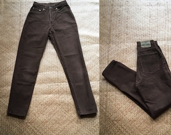 b7ea84cdd1 26 90s high waist jeans Jordache dark brown cotton heavyweight non stretch  denim 25 26 XS S extra small small 2 3 4 5 slim tapered high rise