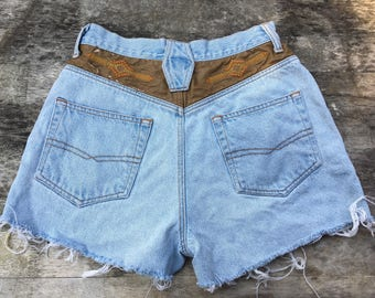 d7e82527cb SALE 27 high waist jean shorts S small 28 26 high rise cut offs light blue  faded perfect fade southwestern embroidery embroidered Aztec