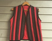 S M 1970s patchwork folk vest calico red and black patch work quilted waistcoat size S M small to medium 1970s 60s 1960s Woodstock era boho