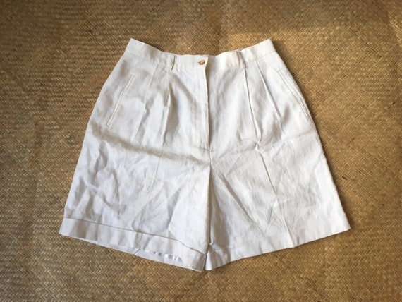 High waist linen shorts white bermuda L XL extra l
