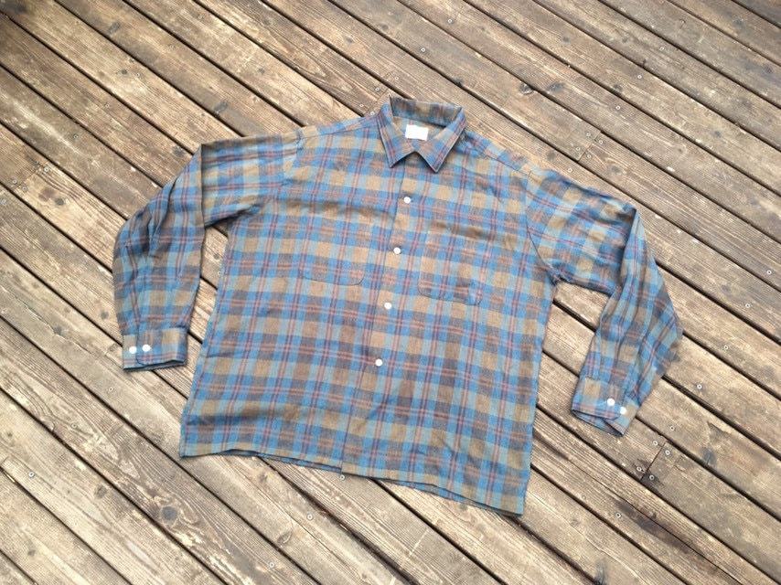 1940s Men's Shirts, Sweaters, Vests Sale 1940S 50S Plaid Rayon Shirt Ombre Straight Hem Towncraft 40S 1950S Loop Button Collar Workwear Work Wear Vintage Rockabilly American $34.95 AT vintagedancer.com