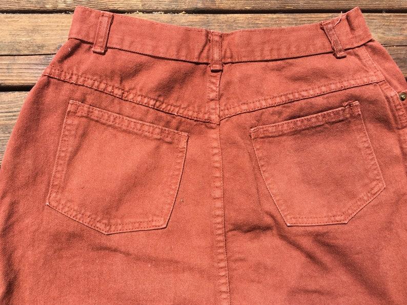 26cb1de268 28/29 90s denim skirt high waist 1990s rust brown russet | Etsy