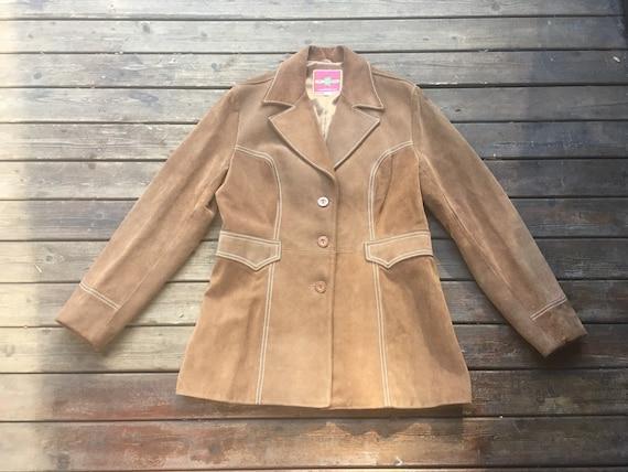 M/L Miss Pioneer suede jacket 70s brown leather cowhide 1970s M L size medium to large vintage size 16 warm brown tan boho hippie western M