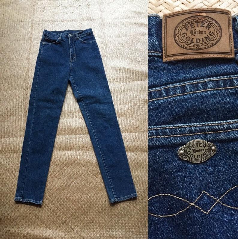 c7f54567 27 Peter Golding jeans high waist dark blue denim made in Hong   Etsy