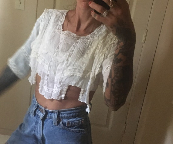 Edwardian lace blouse white 100 cotton gauze lawn… - image 3