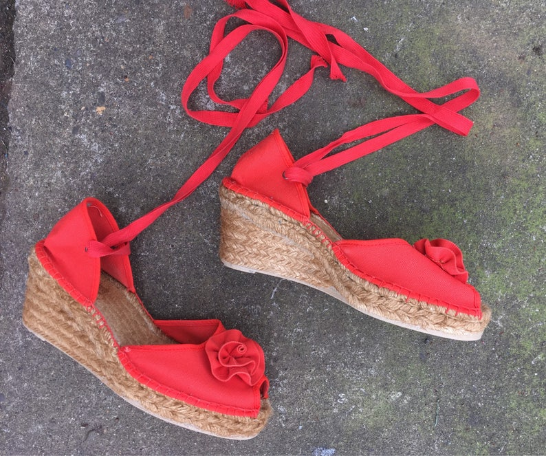 52c1c9b09a5 SALE Size 40 French espadrilles wedges red canvas wedge sandals high heels  heel peep toe ankle strap platform chunky summer 8 8.5 8 1/2 9