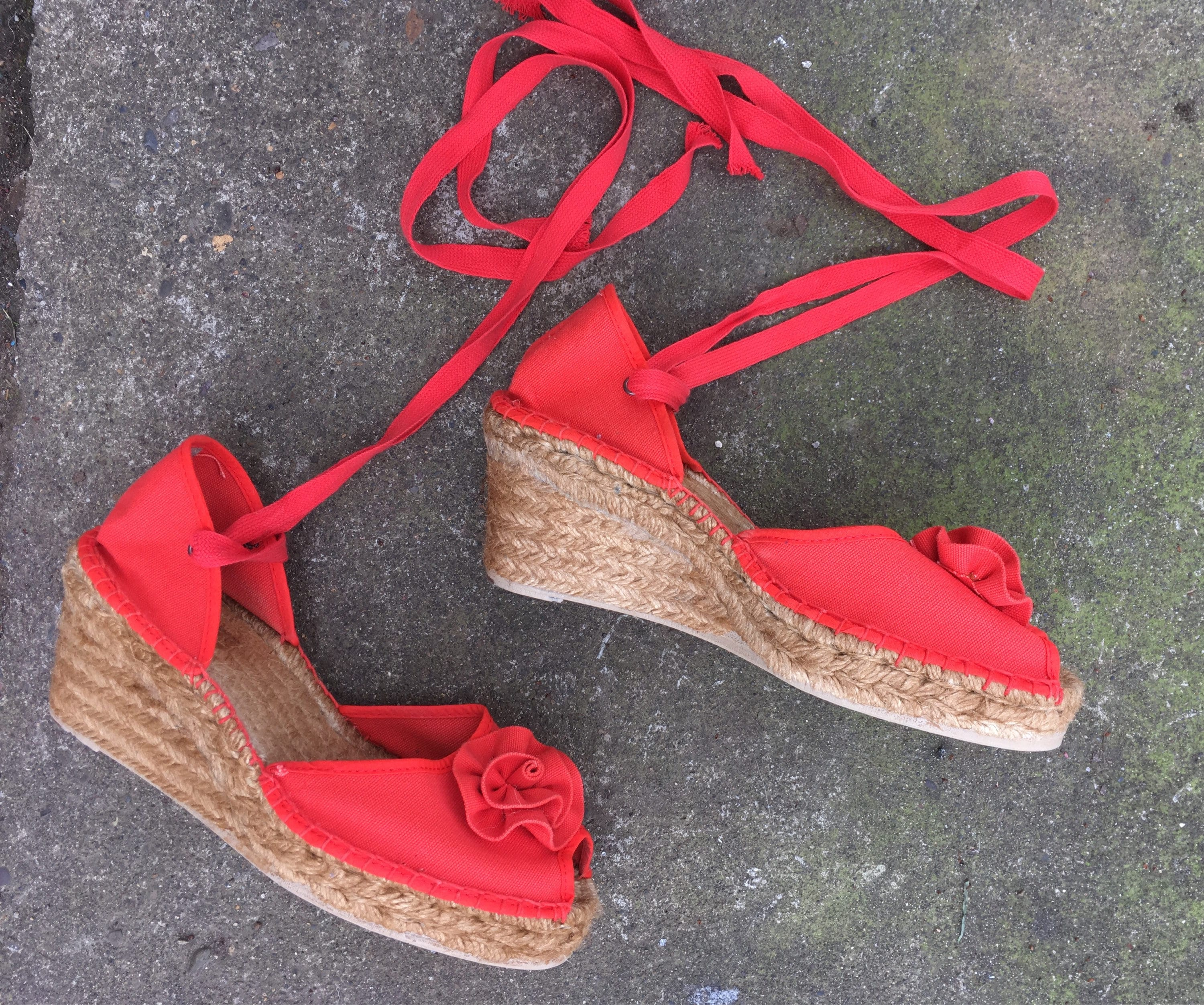 d733884f2bb SALE Size 40 French espadrilles wedges red canvas wedge
