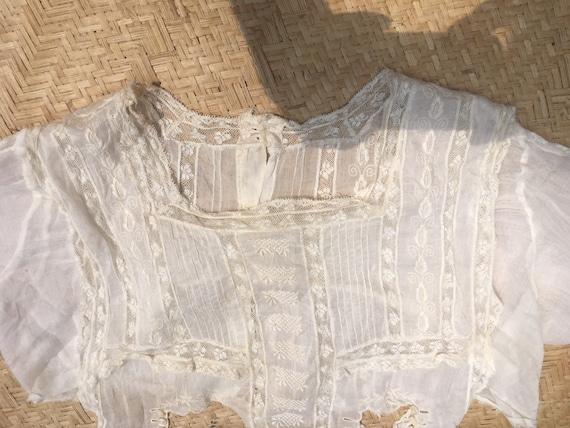 Edwardian lace blouse white 100 cotton gauze lawn… - image 10