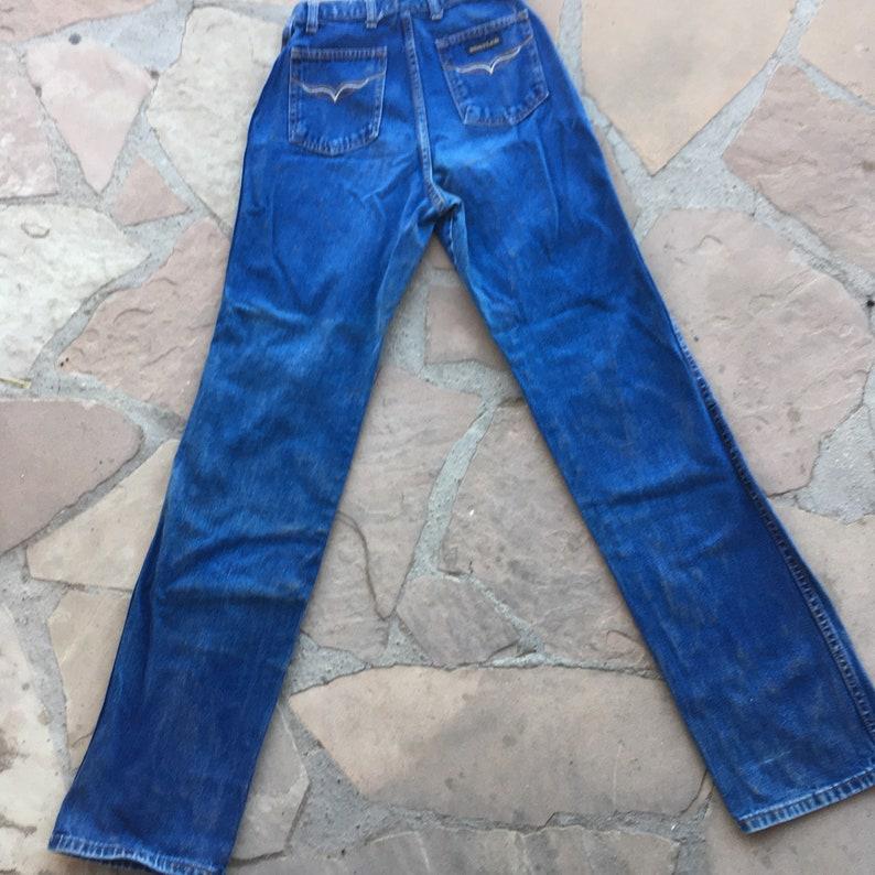 26 1970s high waist jeans long tall waist straight leg embroidered embroidery dark blue 70s Rustler 100 cotton 23 24 25 XS xxs extra small