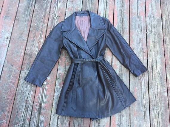 1970s Penny Lane coat jacket leather New England S