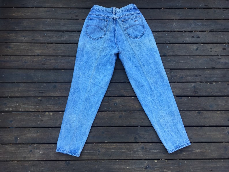27x28 High waist jeans acid wash washed stonewashed high rise slim tapered fit light blue 26 27 28 29 skinny made in USA size small S 2 4 3