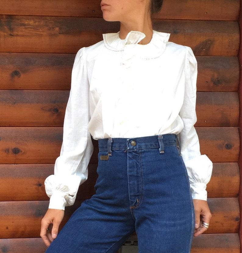 139ae1200e3cb3 SALE Antique 1800s blouse linen white cotton high neck long