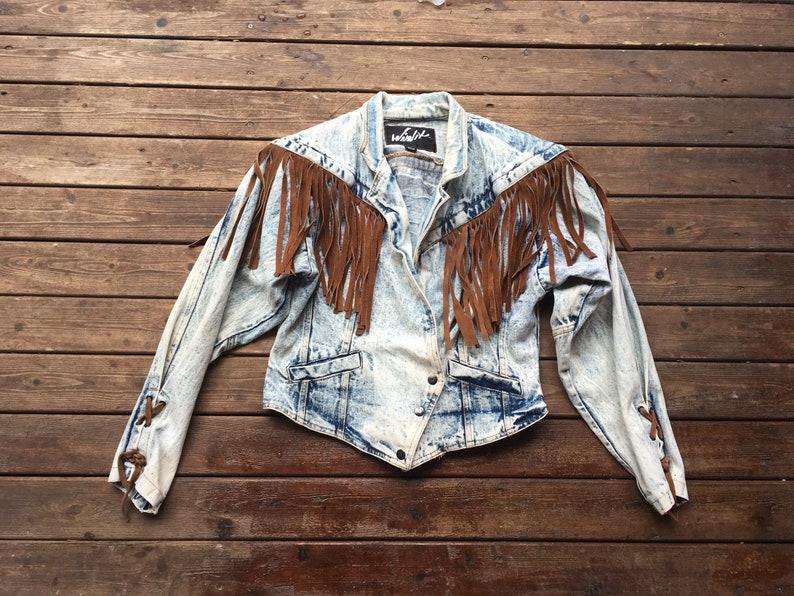 87a957d6032 S M Denim fringe jacket acid wash washed light blue brown