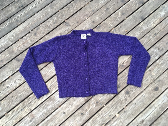 90s cropped cardigan boucle