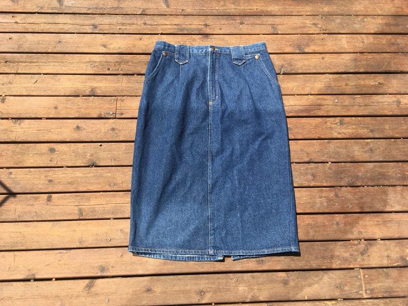 7273323faf 36 Denim Skirt 1970s Talon zipper size large dark blue M L M/L | Etsy