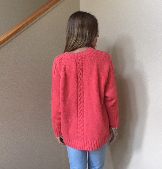 XSS Silk cotton boxy sweater 90s crop top cropped sweater XS S fuchsia hot pink coral silk blend heavyweight heavy thick warm winter 1990s