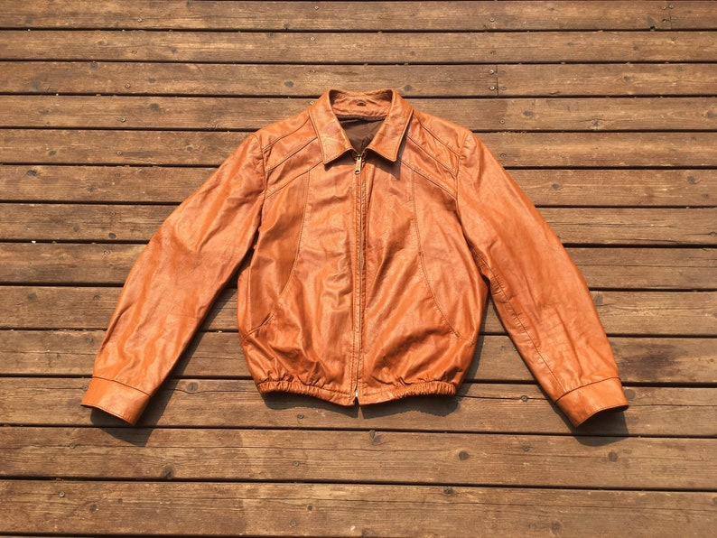 SALE 1960s leather jacket Talon warm brown orange buttery soft 60s 70s M L medium to large small S slim fit fitted Talon zip 60s 70s 1970s m