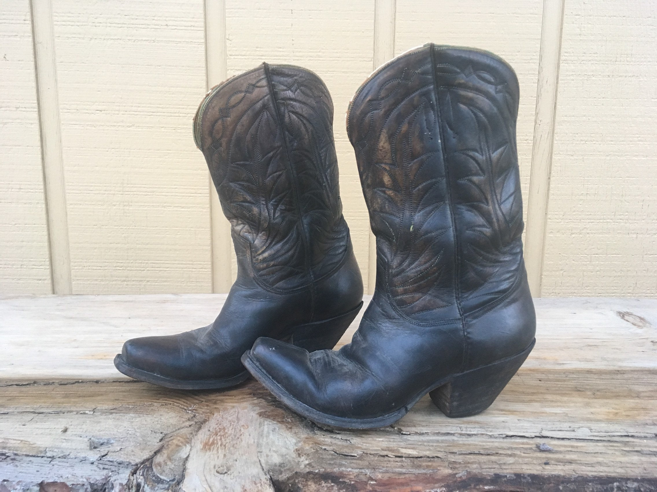 7ff13cdfb21 1950s Tony Lama boots mens 7 womens 9 6.5 6 1/2 7 7.5 7 1/2 8 8.5 8 1/2 9  50s peewee short shorty ankle square toe western boots black 40s