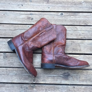 8.5 Men/'s10 women/'s Justin roper boots ropers 70s 1970s navy blue 8 12 R 10 10.5 10 12 40 41 42 pull on western cowboy boots made in USA