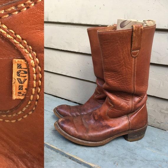 10 années 1970 Levis bottes de travail travail travail de taille des 10 marron années 70 années 1970 onglet orange bottes western de tirer sur le glisser sur la taille 10 pour homme vibram semelle semelles motard moto 003cd7