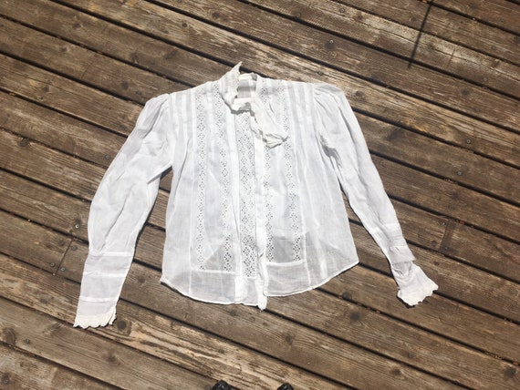 Sold As Is XS Antique Embroidered Cotton Lawn Blouse Small UK 6-8