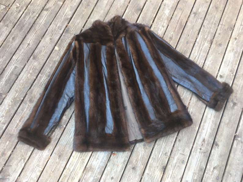 1970s Mink leather jacket real fur stripe patchwork chevron 60s dark brown 1960s chocolate luxe XS S M size extra small to medium coat crop