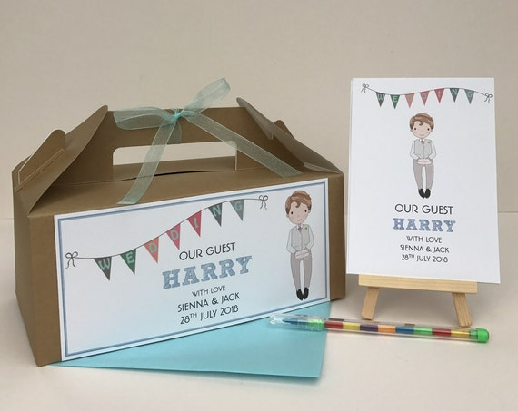 Children's Personalised Wedding Our Guest Activity Box & Pack Brown Kraft