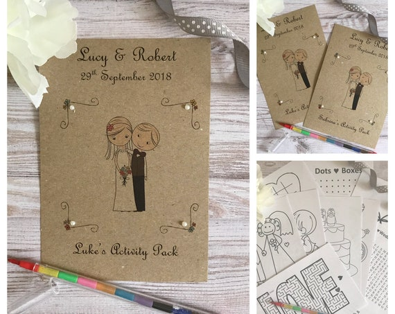 Personalised Children's Wedding Activity Pack Bride & Groom Favour A6 Vintage Style Brown Eco Kraft Card