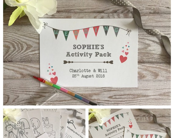 Personalised Children's Wedding Activity Pack Wedding Bunting Style A6 White