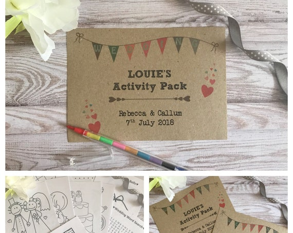 Personalised Children's Wedding Activity Pack Wedding Bunting Style A6 Brown