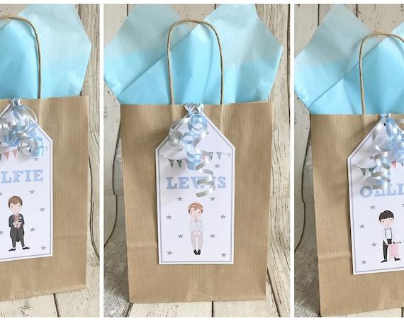 Personalised Children's Wedding Favour Gift Bag Boy Design Brown Kraft