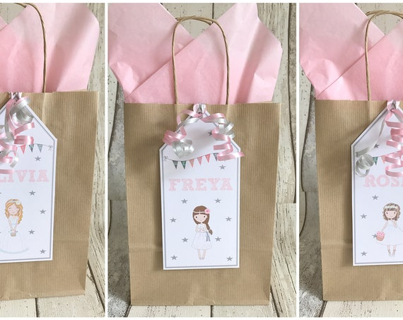 Personalised Children's Wedding Favour Gift Bag Girl Design Brown Kraft