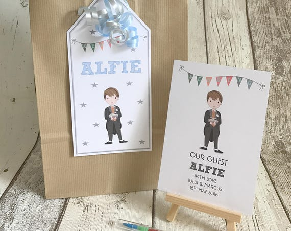Children's Personalised Wedding Activity Pack & Bag Brown Kraft Tag Style With Ribbon