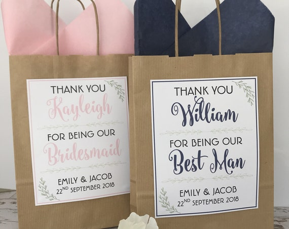 Personalised Brown Wedding Favour Gift Bag Laurel Detail