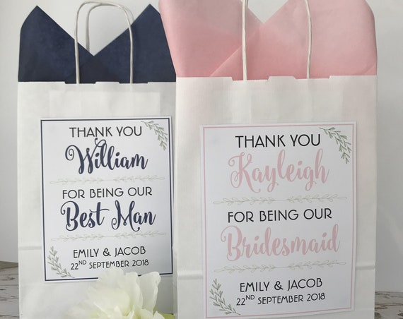 Personalised White Wedding Favour Gift Bag Laurel Detail